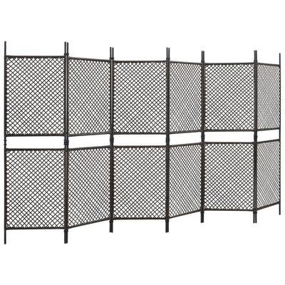vidaXL Panneau de clôture Résine tressée 3,6x2 m Marron