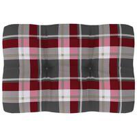 vidaXL Coussin de canapé palette Motif à carreaux rouge 60x40x12 cm