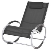 vidaXL Chaise à bascule d'extérieur Noir Textilène