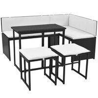 vidaXL Mobilier à dîner d'extérieur 5 pcs Acier Résine tressée Noir