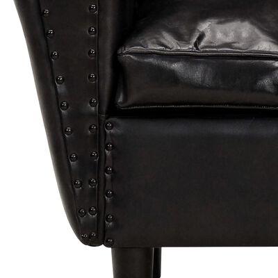 vidaXL Fauteuil tube Noir 77x65x79 cm Cuir véritable