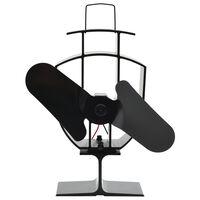 vidaXL Ventilateur de poêle alimenté par chaleur 2 pales Noir