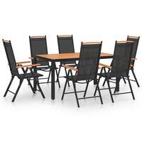 vidaXL Ensemble de salle à manger de jardin 7 pcs Aluminium Noir