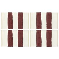 vidaXL Napperons 4 pcs Chindi Bande Bordeaux et blanc 30 x 45 cm