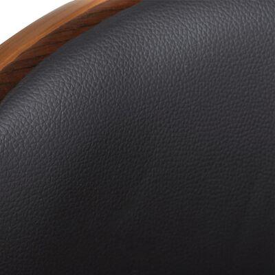 vidaXL Tabourets de bar 2 pcs Noir Bois courbé et similicuir