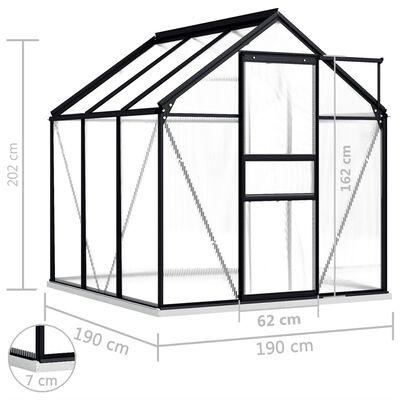 vidaXL Serre avec cadre de base Anthracite Aluminium 3,61 m²