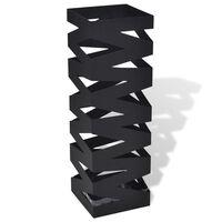 vidaXL Porte-parapluie carré Noir Acier 48,5 cm
