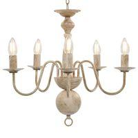 vidaXL Lustre Blanc antique 5 ampoules E14