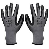 Gants de travail Nitrile 1 paire Gris et noir Taille 9/L