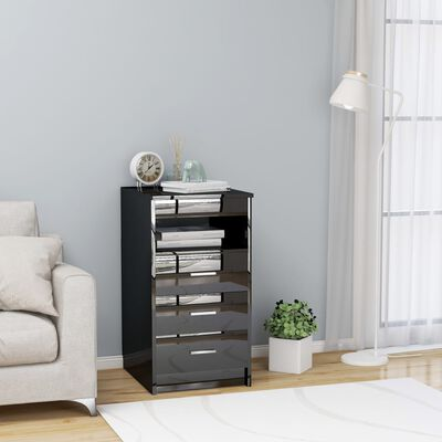 vidaXL Armoire à tiroirs Noir brillant 40x50x76 cm Aggloméré