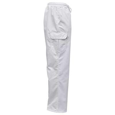vidaXL Pantalon de cuisinier Taille élastiquée et cordon 2 pcs M Blanc