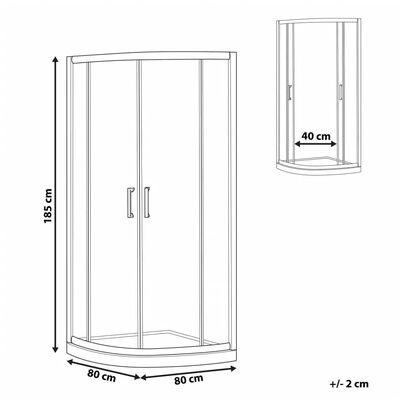 Cabine de douche 80 x 80 x 185 cm argentée JUKATAN