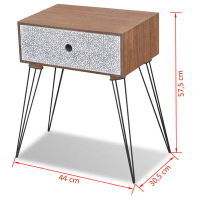vidaXL Table de chevet avec 1 tiroir rectangulaire Marron