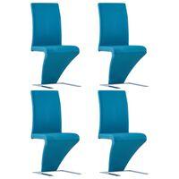 vidaXL Chaises à dîner avec forme de zigzag 4 pcs Bleu Similicuir