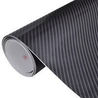 vidaXL Film de voiture Vinyle de fibre de carbone 4D Noir 152 x 500 cm
