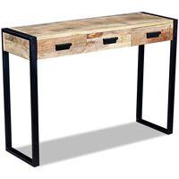 vidaXL Table console avec 3 tiroirs Bois de manguier 110 x 35 x 78 cm