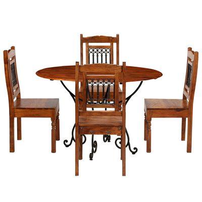 vidaXL Jeu de salle à manger 5 pcs Acacia massif et finition en Sesham