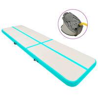 vidaXL Tapis gonflable de gymnastique avec pompe 800x100x20cm PVC Vert