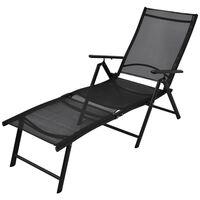 vidaXL Chaise longue pliable Aluminium Noir