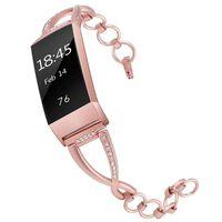 Bracelet Fitbit Charge 3 acier inoxydable rose rosé - S