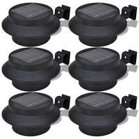 vidaXL Lampes solaires 6 pcs pour clôture gouttière Noir