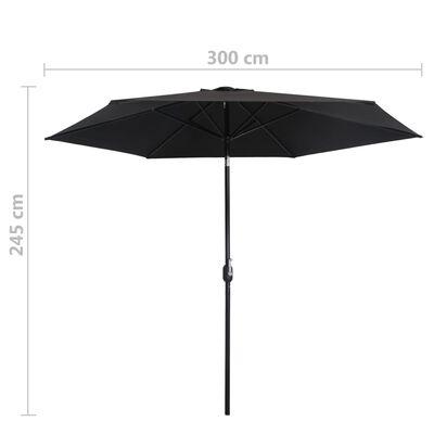 vidaXL Parasol d'extérieur avec poteau en métal 300 cm Noir
