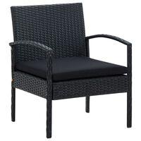 vidaXL Chaise de jardin avec coussin Résine tressée Noir
