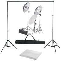vidaXL Kit de studio photo avec ensemble d'éclairage et toile de fond