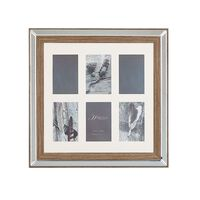 Cadre pêle-mêle 6 photos effet miroir et bois foncé SINTA