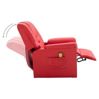vidaXL Fauteuil de massage Rouge Similicuir