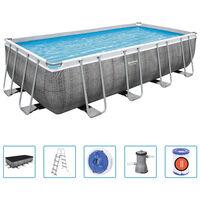 Bestway Ensemble de piscine Power Steel Rectangulaire 488x244x122 cm