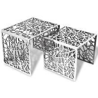 vidaXL Table auxiliaire carrée 2 pièces Aluminium Argenté