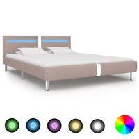 vidaXL Cadre de lit avec LED Cappuccino Similicuir 180 x 200 cm