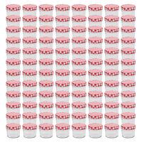 vidaXL Pots à confiture Couvercles blanc et rouge 96 pcs Verre 110 ml