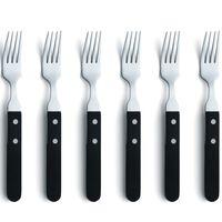 Amefa Ensemble de fourchettes à steak 6 pcs Argenté et noir