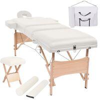 vidaXL Table de massage pliable et tabouret 10 cm d'épaisseur Blanc