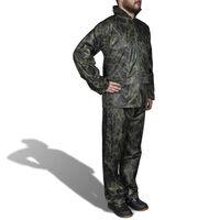 vidaXL Combinaison de pluie avec capuche 2 pcs Hommes Camouflage L