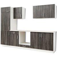 vidaXL Jeu d'armoires de cuisine avec frigo encastré 7 pcs Wengé