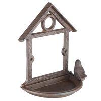 HI Mangeoire à oiseaux suspendue sous forme de maison 18 cm Marron