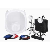 Kit 2 Mini studio photo 2 lampes 45W  2 trépieds 8 fonds