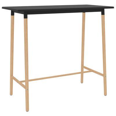 vidaXL Table de bar Noir 120x60x105 cm MDF et bois de hêtre massif