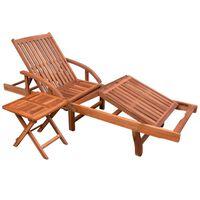vidaXL Chaise longue avec table Bois d'acacia solide