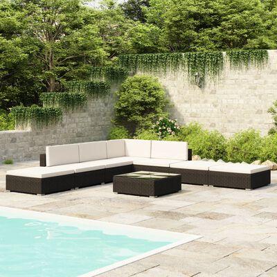 vidaXL Salon de jardin 8 pcs avec coussins Résine tressée Noir