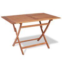 vidaXL Table pliable de jardin 120x70x75 cm Bois de teck solide