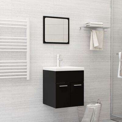 vidaXL Ensemble de meubles de salle de bain 2 pcs Noir Aggloméré