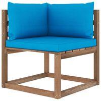 vidaXL Canapé d'angle palette de jardin avec coussins bleu clair