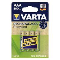 Varta AAA rechargeables recyclées Batteries 4 pièces d'or / vert