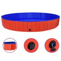 vidaXL Piscine pliable pour chiens Rouge 300x40 cm PVC
