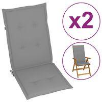 vidaXL Coussins de chaise de jardin 2 pcs Gris 120x50x4 cm
