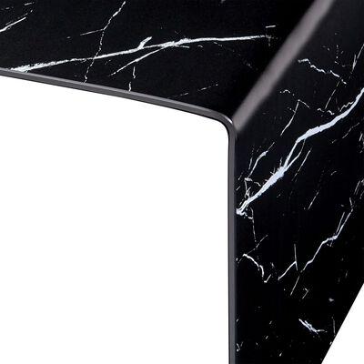 vidaXL Table basse Noir Marbre 50 x 50 x 45 cm Verre trempé